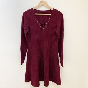 Nina Leonard maroon knit lace up dress XXL
